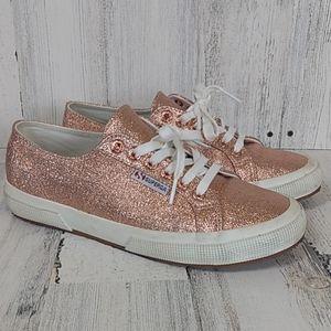 Superga blush metallic lace up sneakers